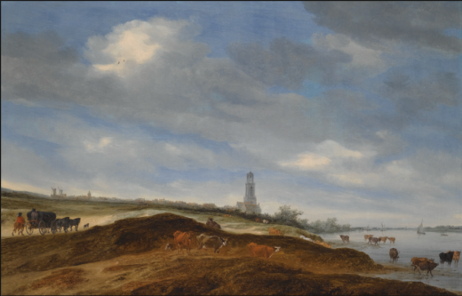 SALOMON VAN RUYSDAEL A PANORAMIC VIEW OF RHENEN FROM THE BANKS OF THE RHINE TO THE WEST OF THE CITY, WITH THE CHURCH OF ST. CUNERA IN THE DISTANCE, AND A HORSE-DRAWN WAGON AND CATTLE IN THE FOREGROUND